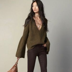Free People Lovely Lines olive pullover sweater